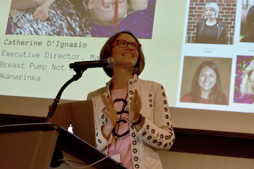 Catherine D'Ignazio speaks at the Make The Breast Pump Not Suck Hackathon at Massachusetts Institute of Technology's Media Lab, April 27, 2018. (Greg Cook)