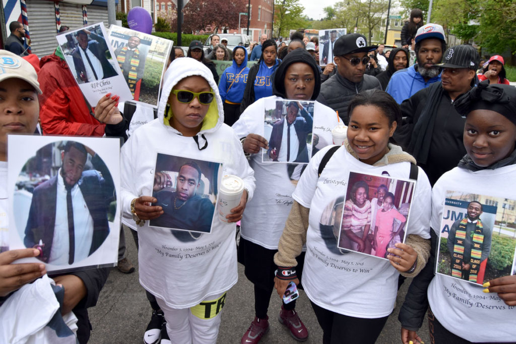 Remembering lost loved ones at the 22nd annual anti-gun violence Mother's Day Walk For Peace In Dorchester, Boston, May 13, 2018. (Greg Cook)