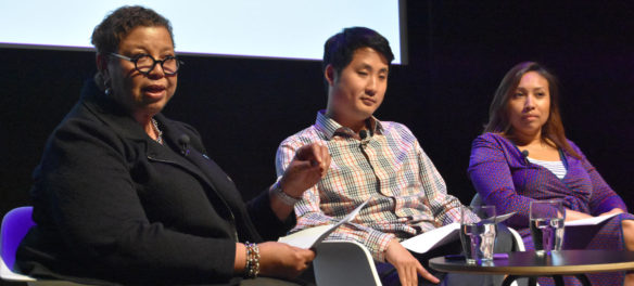 "Myran Parker-Brass (from left), Justin Kang and Yasmin Cruz speak at ""The Path Forward: A Conversation on Racial Equity in Arts Leadership"" organized by the Network for Arts Administrators of Color at Boston's Institute of Contemporary Art, May 24, 2018. (Greg Cook)"