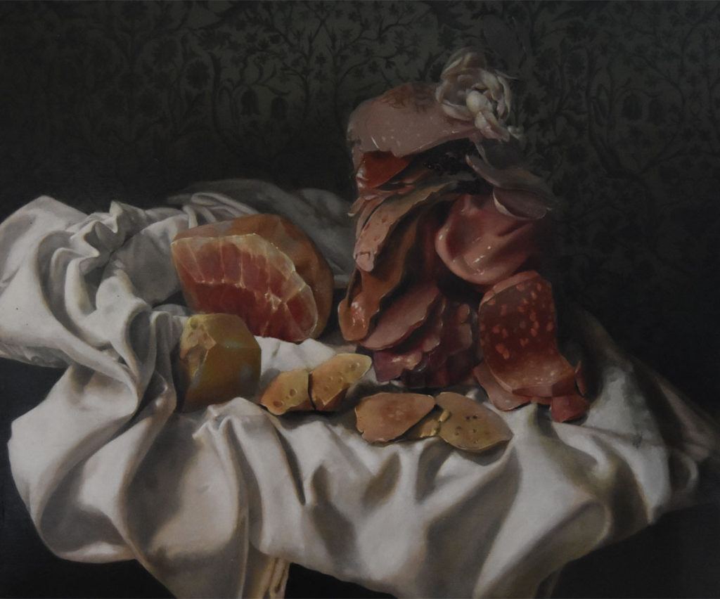 "Nicole Duennebier, ""Still Life with Meat Pile,"" acrylic on panel."