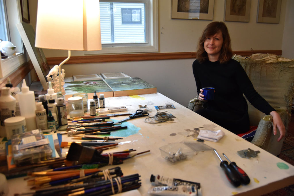 Nicole Duennebier in her studio in Malden, May 12, 2018. (Greg Cook)