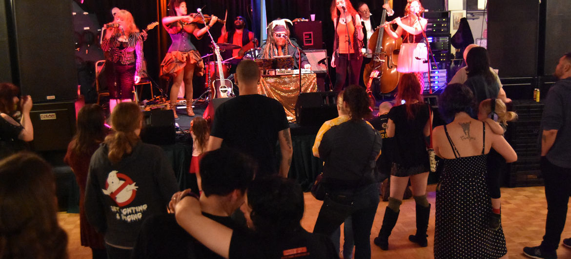 """Walter Sickert & the Army of Broken Toys perform at Kelly Davidson's """"Rock Parents"""" exhibition at Once, Somerville, May 6, 2018. (Greg Cook)"""