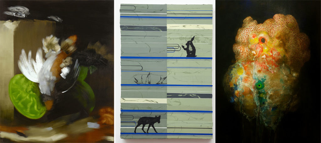 Paintings by (from left) Elise Ansel, Duane Slick and Nicole Duennebier. (Courtesy Brown University)