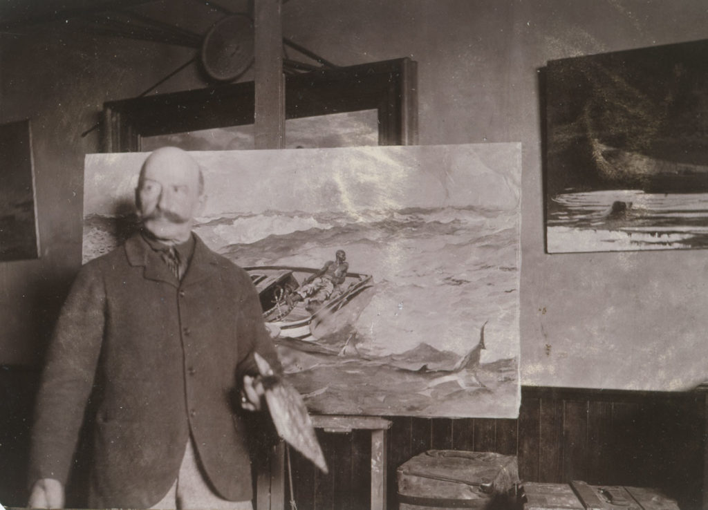 """Winslow Homer with """"The Gulf Stream"""" in his Studio, ca. 1900, gelatin silver print, by an unidentified photographer. (Bowdoin College Museum of Art, Brunswick, Maine)"""