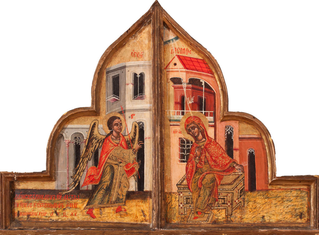"""""""The Bober Annunciation,"""" Greek, Macedonia, 1680, tempera on wood. (Courtesy Museum of Russian Icons)"""