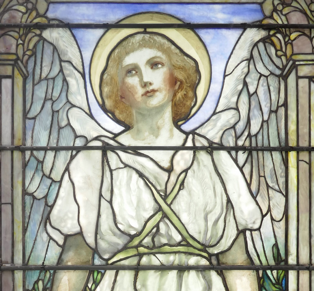 """Louis C. Tiffany, """"Resurrection (detail),"""" 1899, stained glass window. (Worcester Art Museum)"""