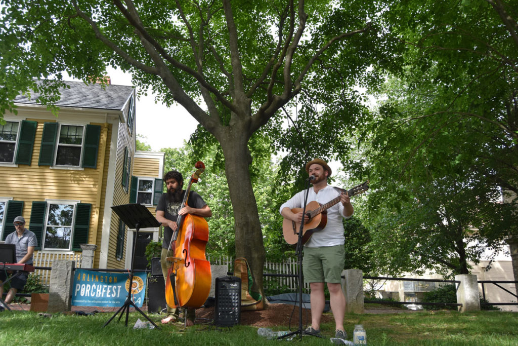 Phil and the Flying Leap plays at Arlington Porchfest, June 9, 2018. (Greg Cook)