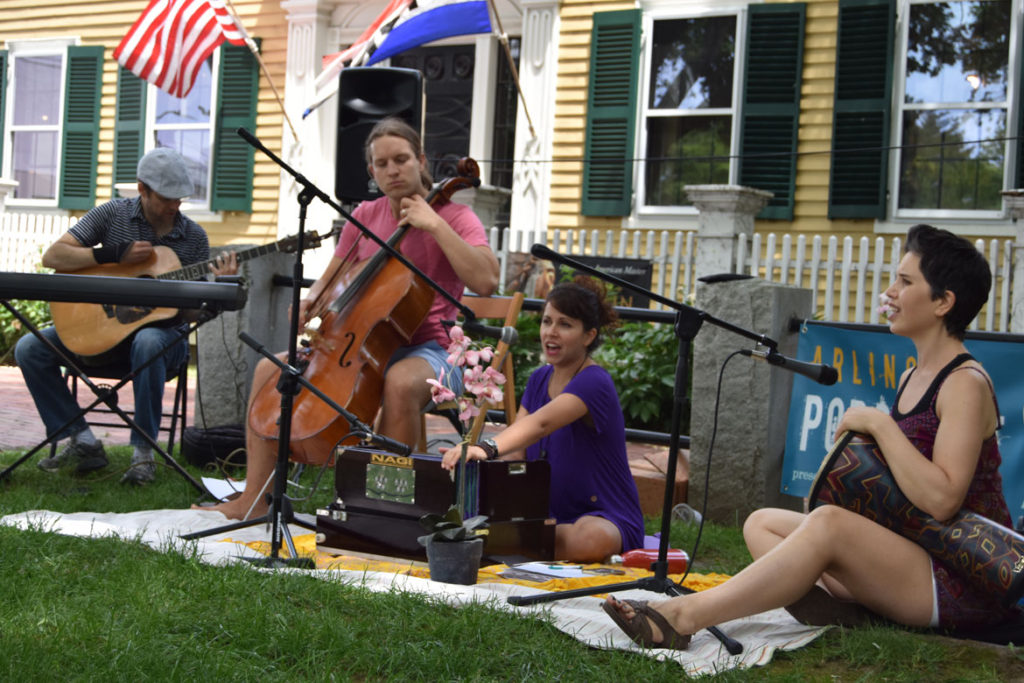 Santosha Band plays at Arlington Porchfest, June 9, 2018. (Greg Cook)