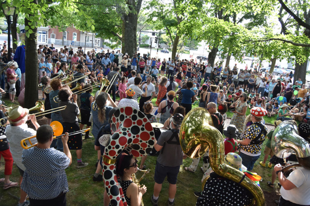 School of Honk plays at Arlington Porchfest, June 9, 2018. (Greg Cook)