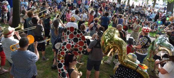 School of Honk plays at Arlington Porchfest, June 9, 2018. (Greg Cook)