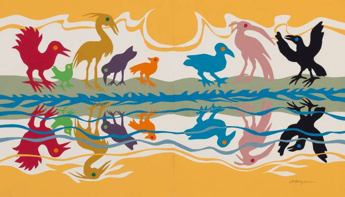"""Ashley Bryan, The birds' colors were mirrored in the waters,"""" circa 2002, from """"Beautiful Blackbird,"""" collage of cut colored paper on paper. (The Eric Carle Museum of Picture Book Art, Amherst, Massachusetts)"""