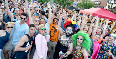 The Big Gay Dance Party in Union Square, Somerville, June 2, 2018. (Greg Cook)