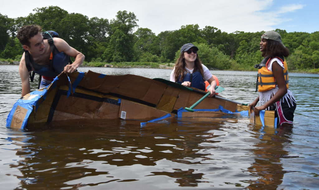 Cardboard Canoe Races at at Wright's Pond in Medford, June 10, 2018. (Greg Cook)