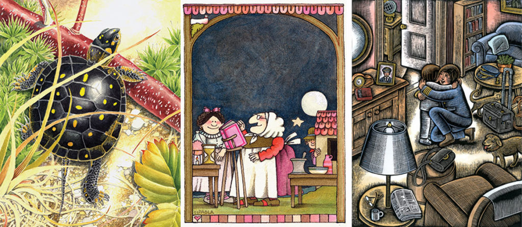 Art by (from left) David M. Carroll, Tomie dePaola, and Beth Krommes. (Currier Museum of Art)