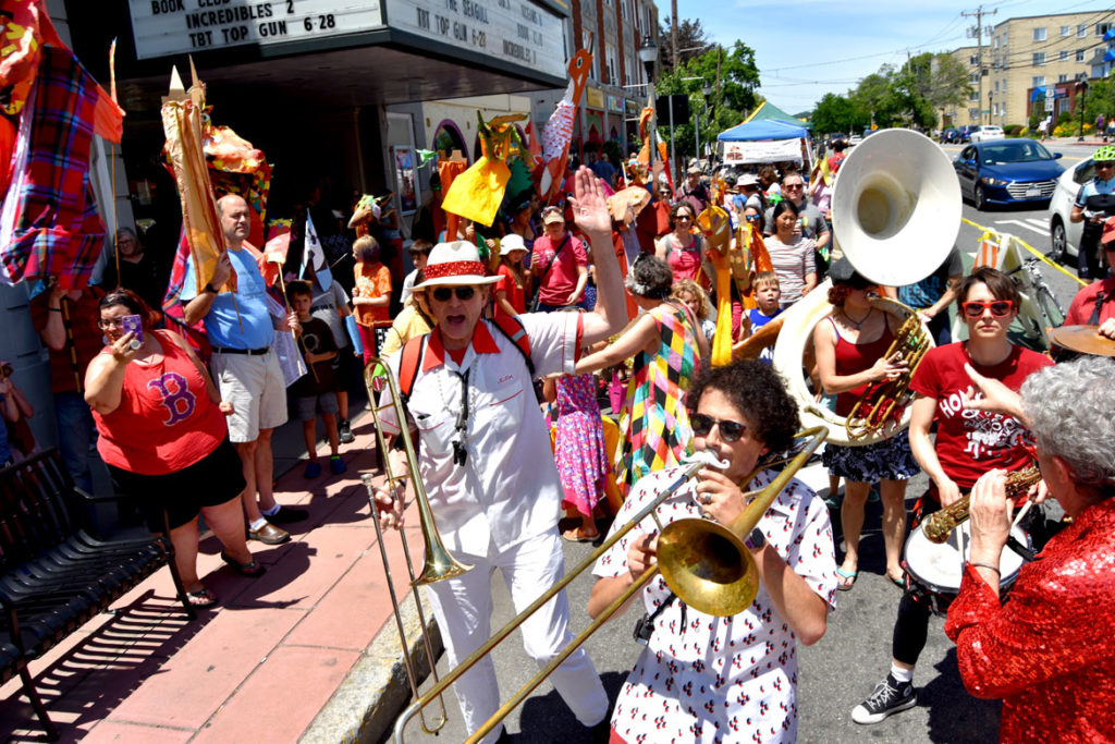 Second Line Social Aid & Pleasure Society Brass Band leads the Fox Festival Parade in Arlington, June 16, 2018. (Greg Cook)
