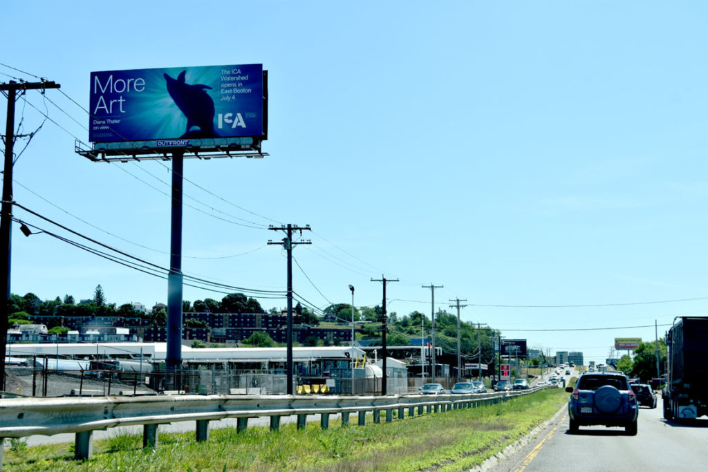 Billboard on Route 1A advertising the ICA's Watershed building, June 26, 2018. (Greg Cook)