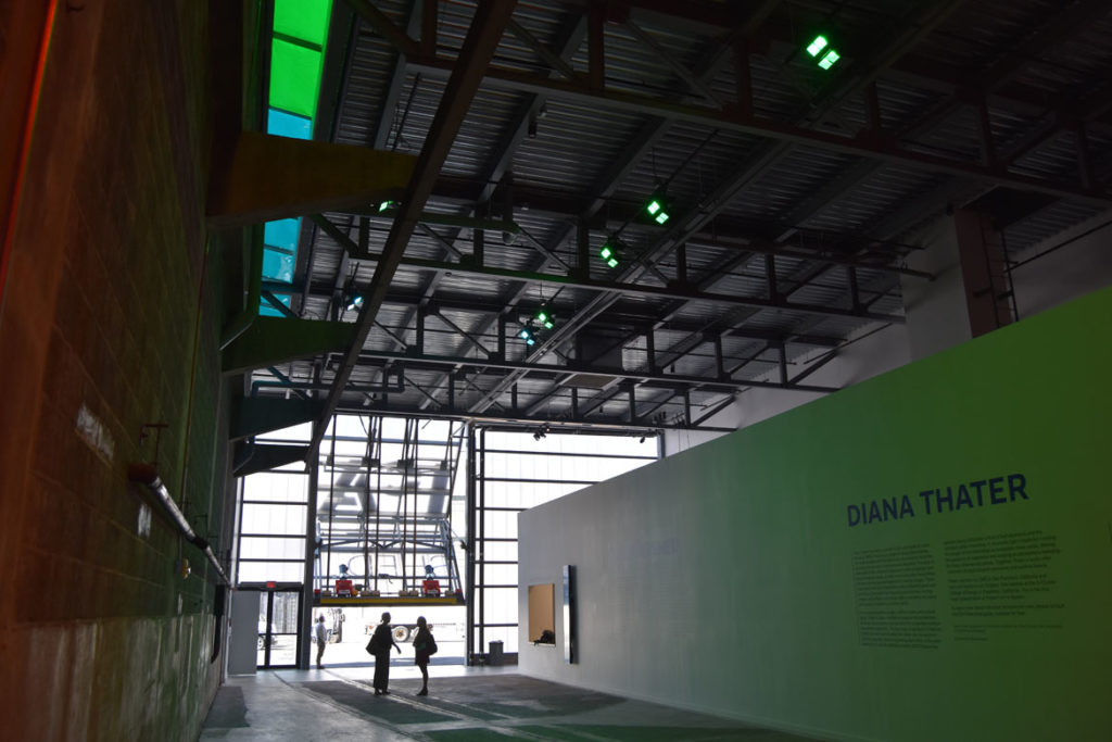 Hanger doors open at both ends of the ICA Watershed hall, June 24,2018. (Greg Cook)