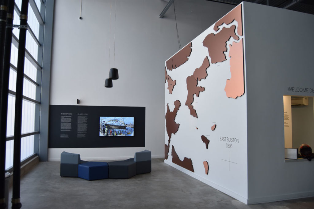 "A brief video history of East Boston screens ""Shipyard Gallery"" at the ICA Watershed, June 26, 2018. (Greg Cook)"