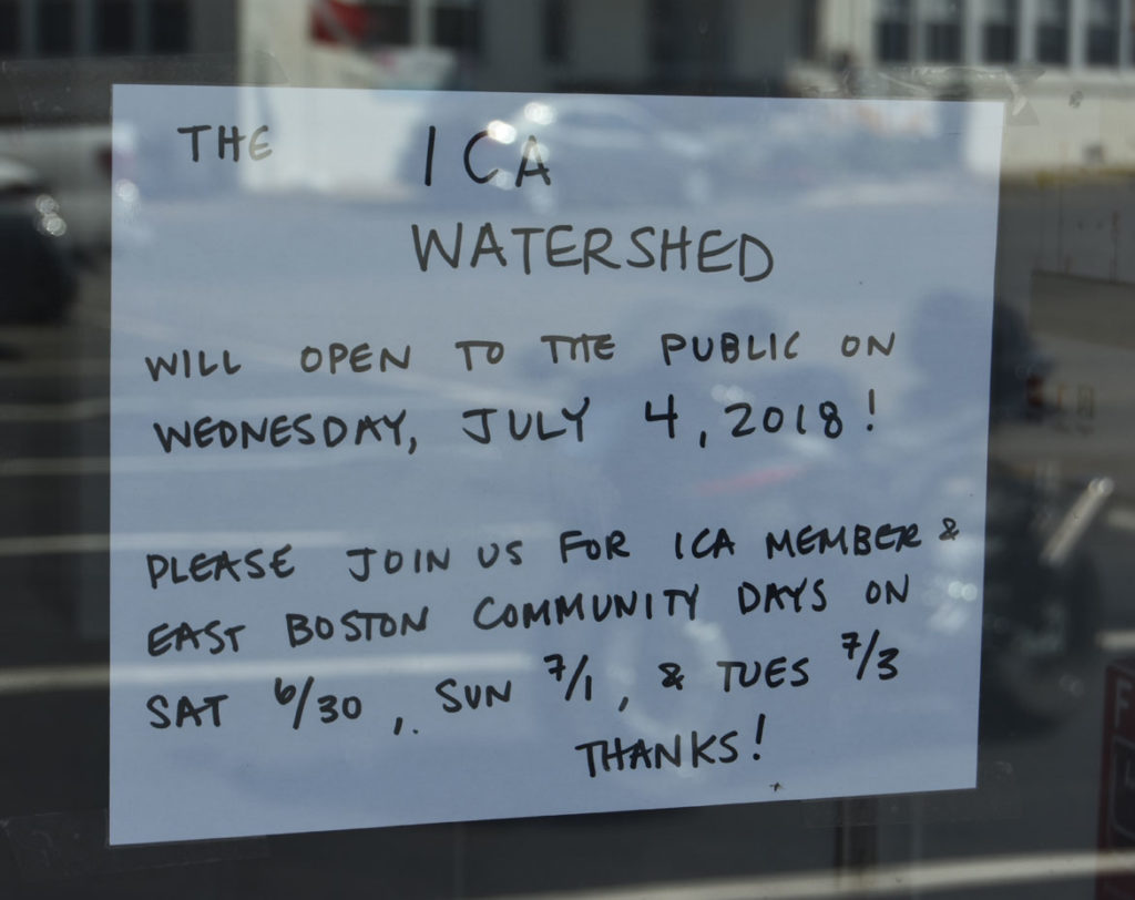 Note on the door of the ICA's Watershed, June 26, 2018. (Greg Cook)