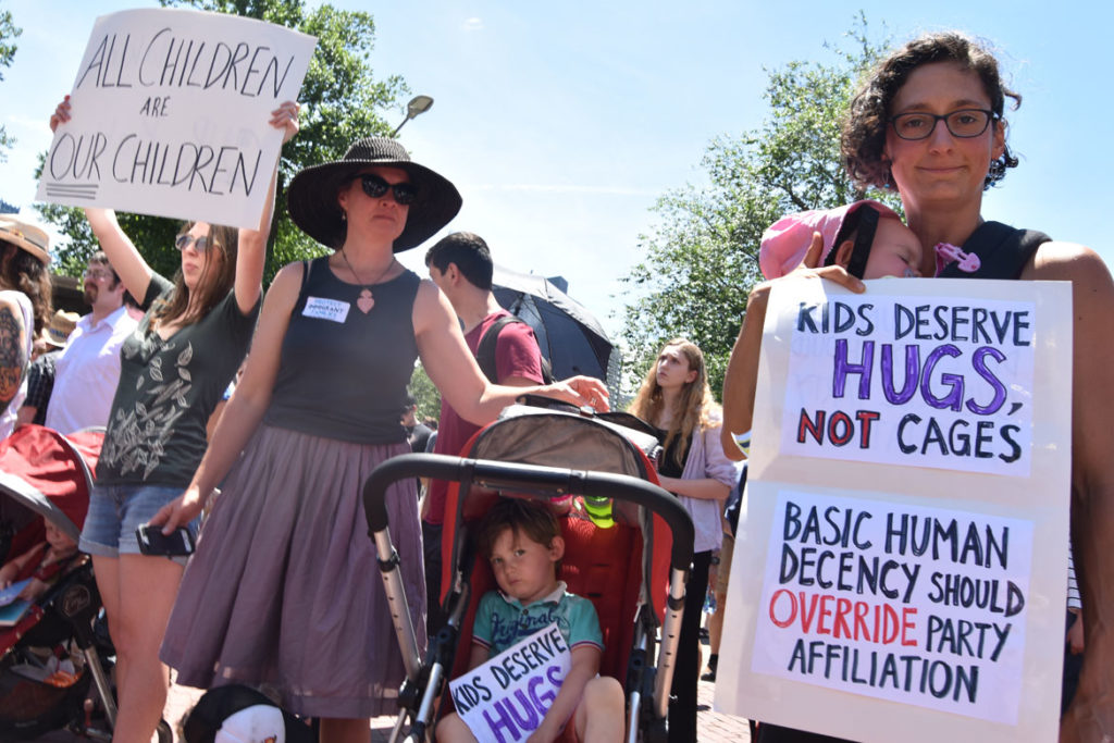 """State House action to protect immigrant families in Massachusetts"" at Massachusetts State House, Boston, June 20, 2018. (Greg Cook)"