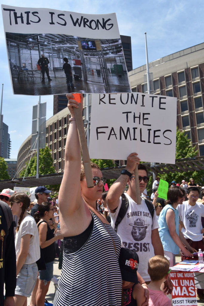 """Together and Free: Rally Against Family Separation"" at Boston City Hall, June 30, 2018. (Greg Cook)"