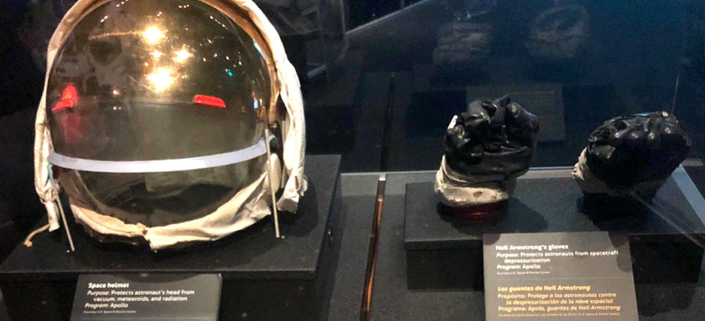 Neil Armstrong's gloves and helmet from the Apollo 11 moon mission. (Museum of Science, Boston)