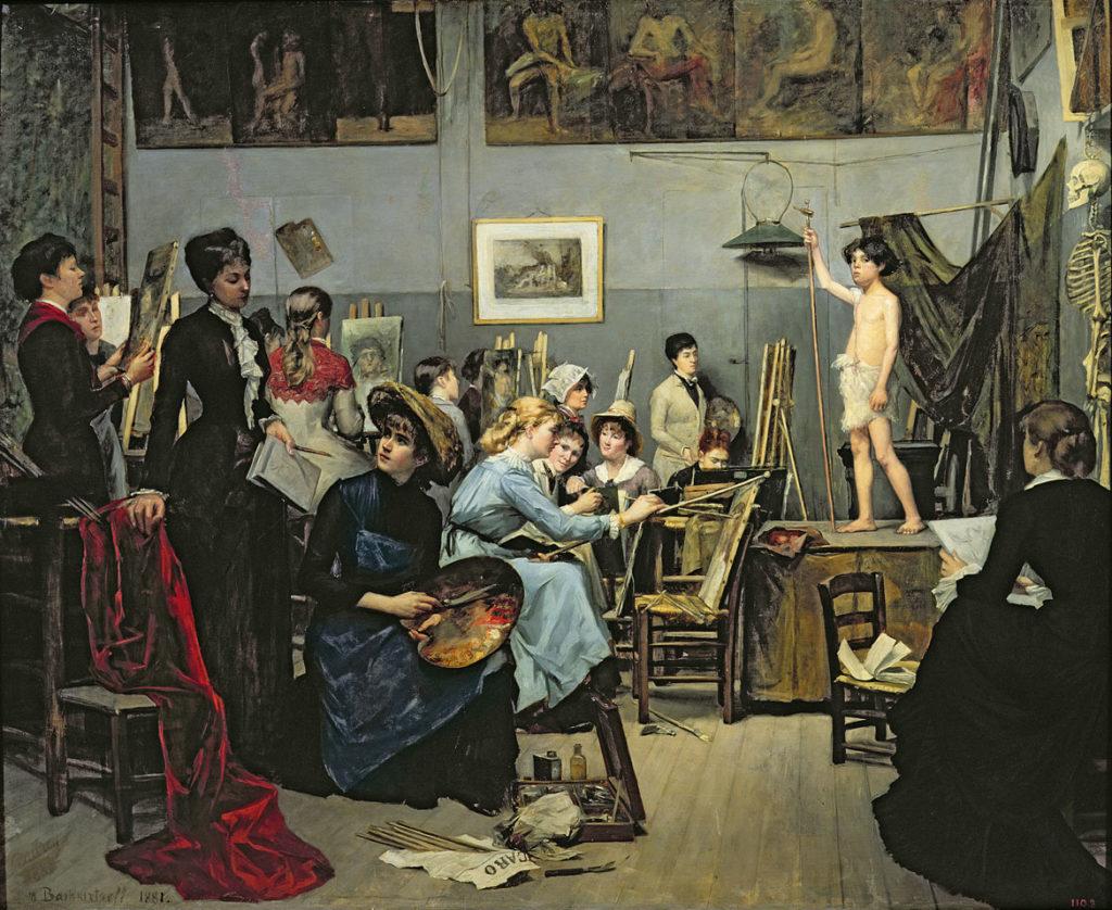 "Marie Bashkirtseff, ""In the Studio, ""1881, oil on canvas, (Courtesy American Federation of Arts)"