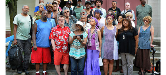Artists in the African American Master Artists In Residence Program held a press conference at the 76 Atherton St. building on July 1, 2018, to oppose Northeastern University's moves. (Randy H. Goodman/Blackwire)