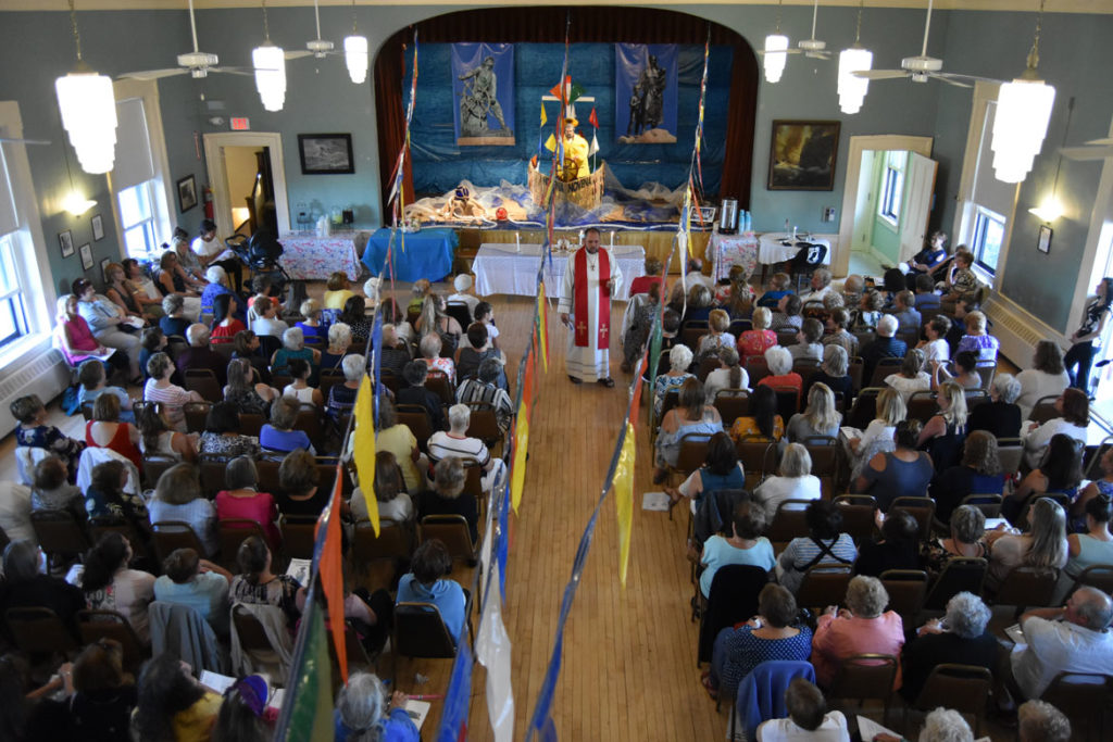 The Mass concluding the St. Peter's Fiesta Novena (nine days of prayer) at Gloucester's American Legion Hall, June 23, 2018. (Greg Cook)