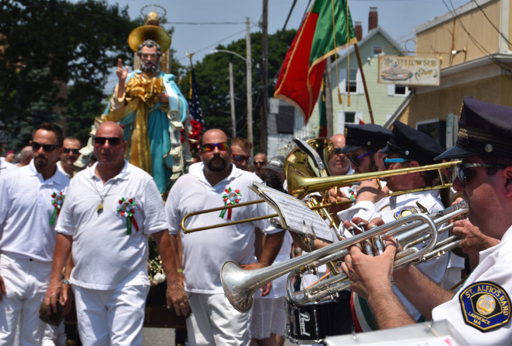St. Alfio's Band from Lawrence plays during Sunday's procession, July 1, 2018. (Greg Cook)