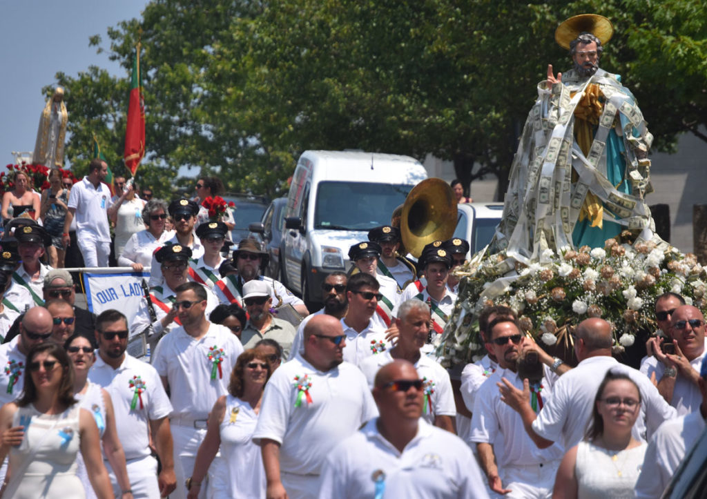 The St. Peter statue is carried down Main Street during Sunday's Fiesta procession, July 1, 2018. (Greg Cook)