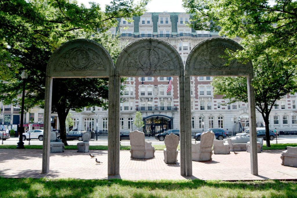 "Liz Glynn's ""Open House"" on Boston's Commonwealth Avenue Mall, July 27, 2018. (Greg Cook)"