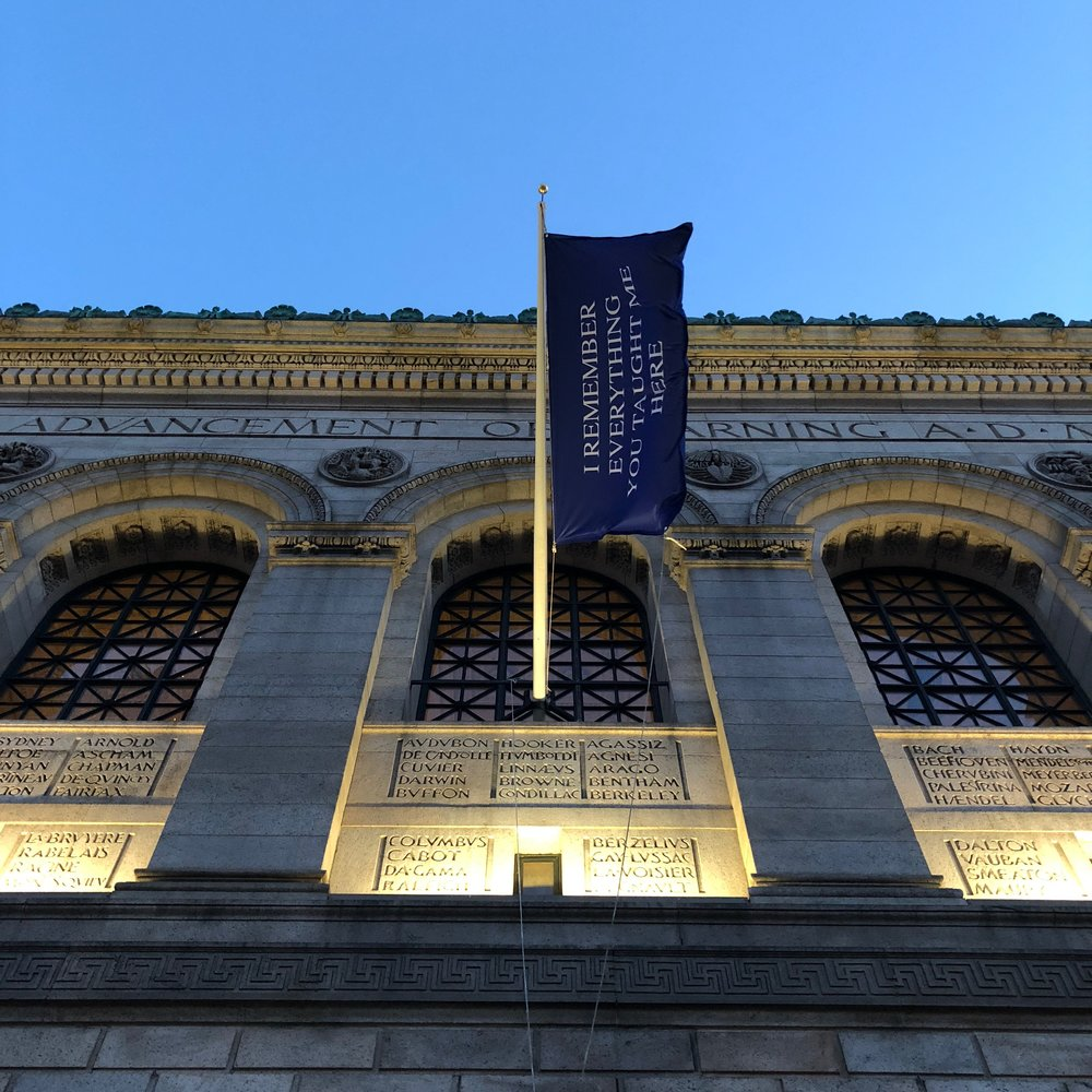 """Steve Locke's """"Love Letter to a Library"""" hung outside the Copley Square entrance to the Boston Public Library's Central Library, 2018. (Courtesy Steve Locke)"""