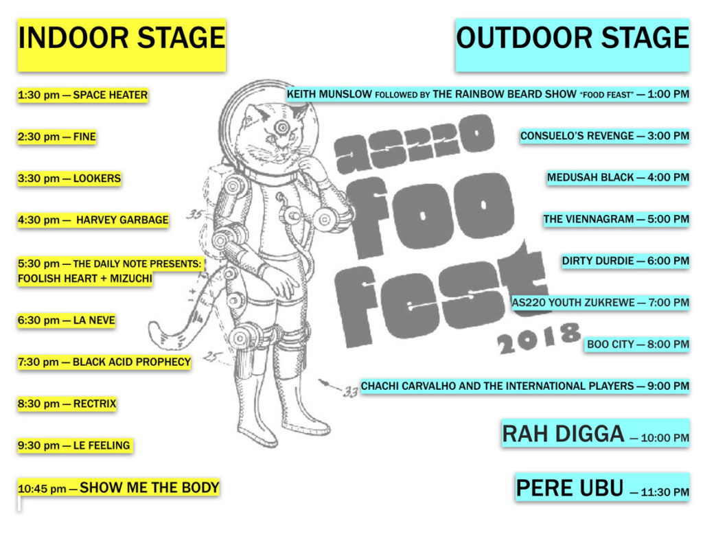 Music schedule for AS220's 2018 Foo Fest.