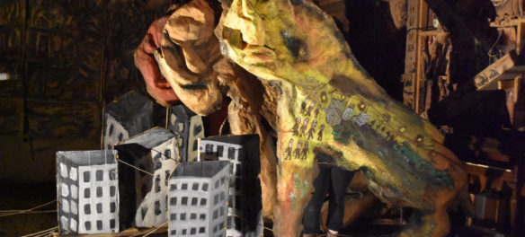 """Bread and Puppet Theater performs """"Or Else"""" in the troupe's Paper Mache Cathedral in Glover, Vermont, Aug. 17, 2018. (Greg Cook)"""