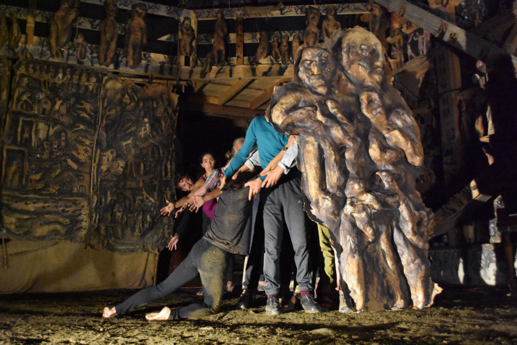 "Bread and Puppet Theater rehearses ""Or Else"" in the troupe's Paper Mache Cathedral in Glover, Vermont, Aug. 17, 2018. (Greg Cook)"