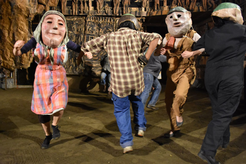 "Bread and Puppet Theater performs ""Or Else"" in the troupe's Paper Mache Cathedral in Glover, Vermont, Aug. 17, 2018. (Greg Cook)"