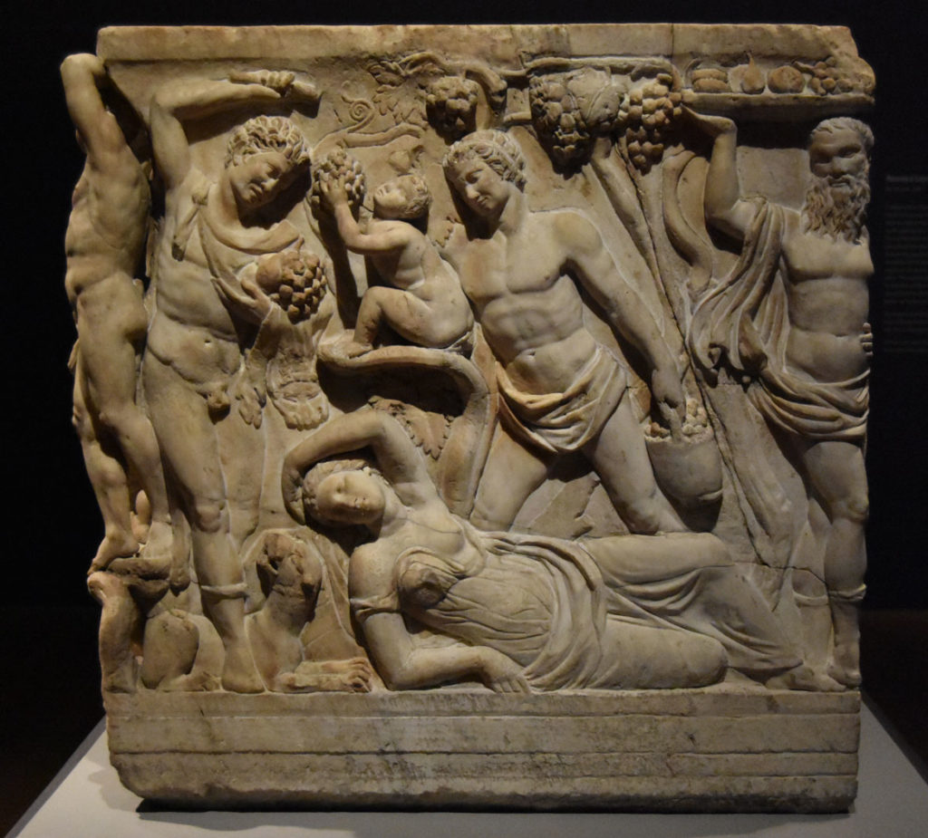 The right side of the Gardner Museum's Farnese Sarcophagus. (Greg Cook)