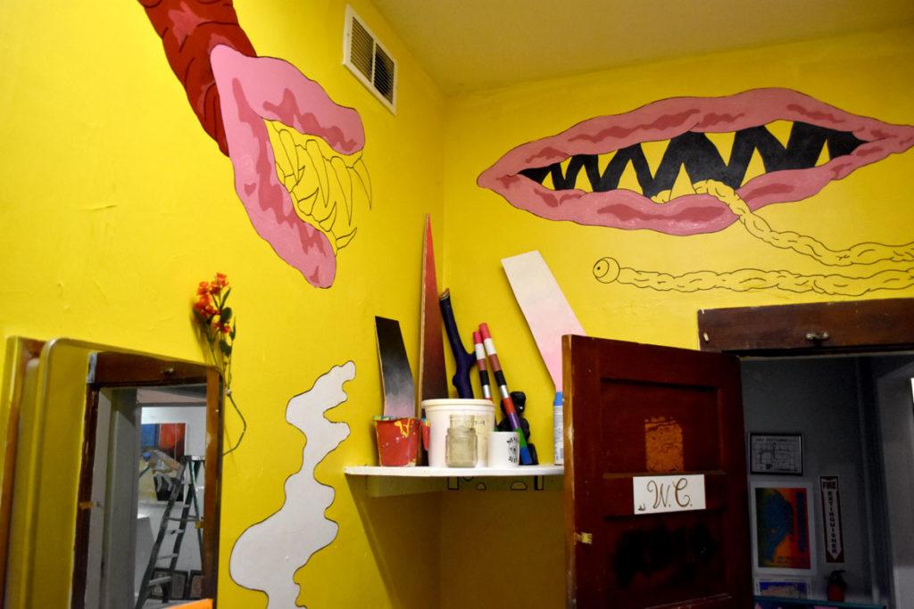 David Owen Beyers's mural in progress at Dorchester Art Project, Boston, Aug. 28, 2018. (Greg Cook)