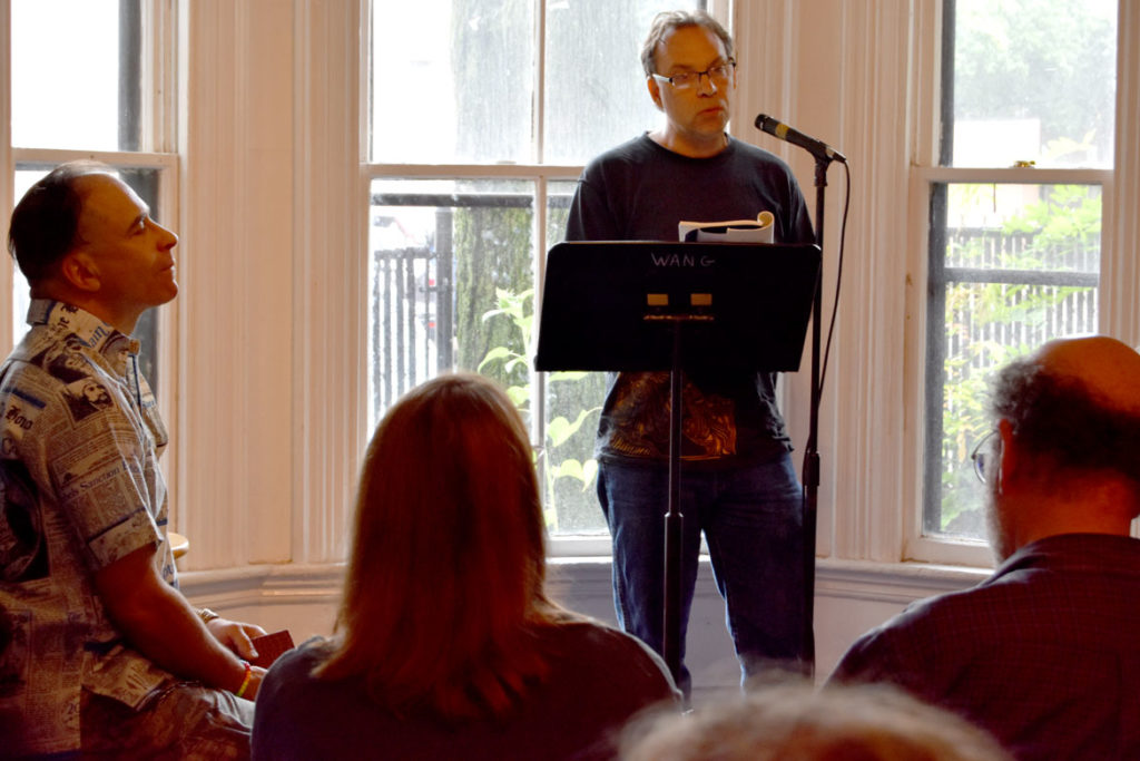 J.D. Scrimgeour reads at the 2018 Boston Poetry Marathon at Outpost 186, Cambridge, Aug. 12, 2018. (Greg Cook)