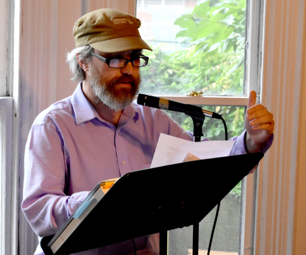 James Cook reads at the 2018 Boston Poetry Marathon at Outpost 186, Cambridge, Aug. 12, 2018. (Greg Cook)