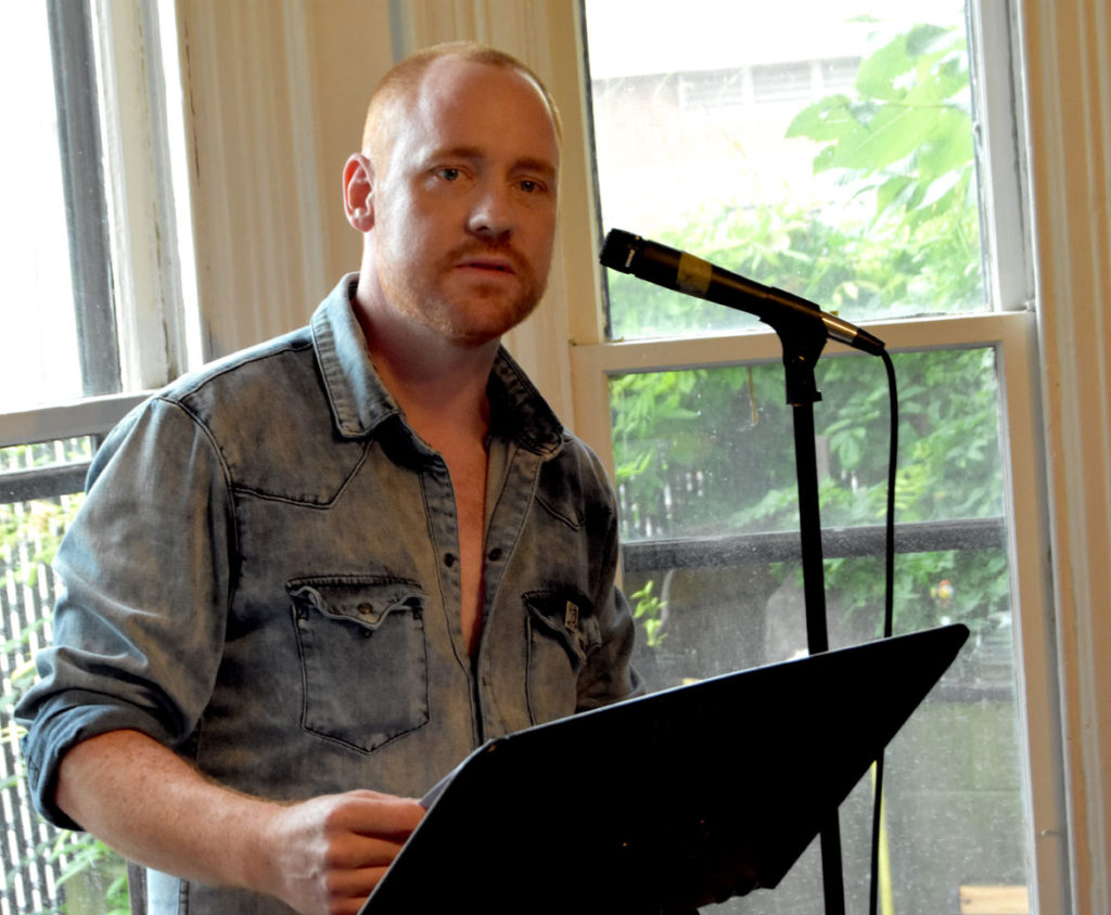 James Stotts reads at the 2018 Boston Poetry Marathon at Outpost 186, Cambridge, Aug. 12, 2018. (Greg Cook)