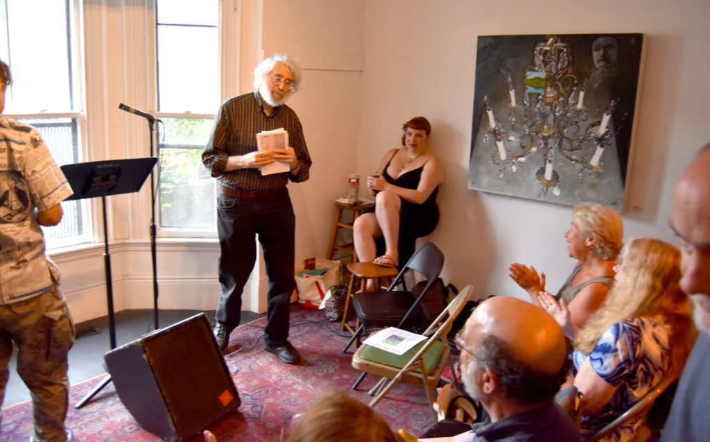 Lloyd Schwartz finishes reading at the 2018 Boston Poetry Marathon at Outpost 186, Cambridge, Aug. 12, 2018. (Greg Cook)