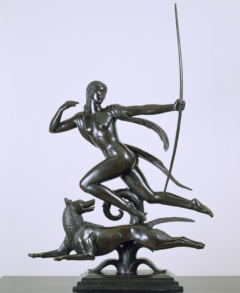 "Paul Manship, ""Diana,"" casting 1925, bronze on marble base. (Courtesy Addison Gallery of American Art)"