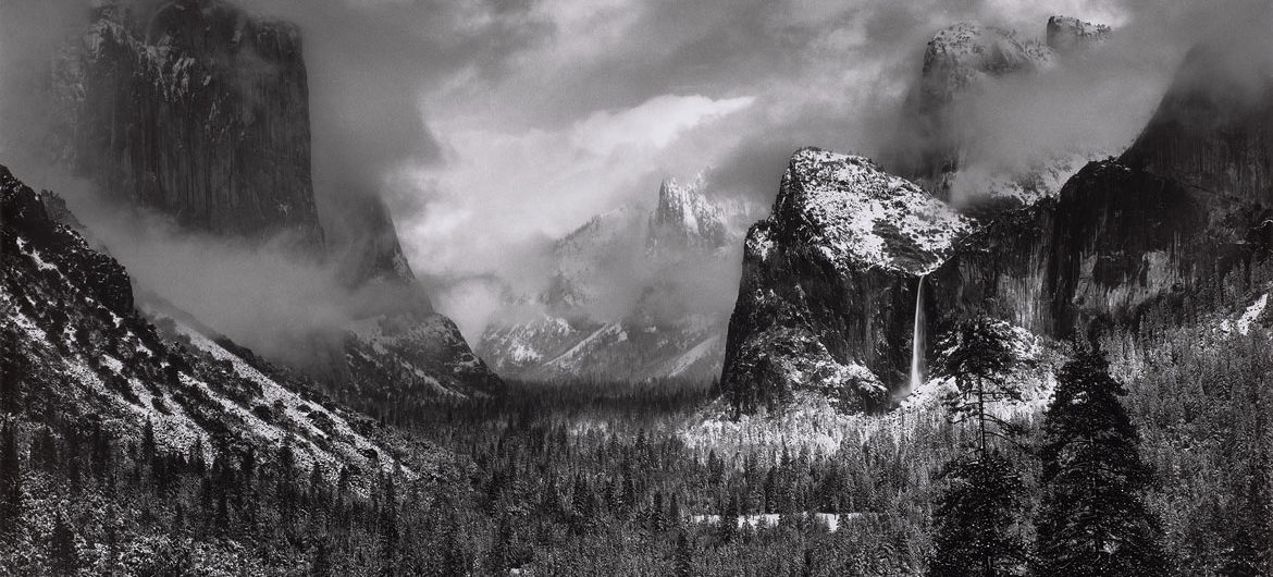 "Ansel Adams, ""Clearing Winter Storm, Yosemite National Park,"" about 1937, photograph, gelatin silver print. (Courtesy, Museum of Fine Arts, Boston)"