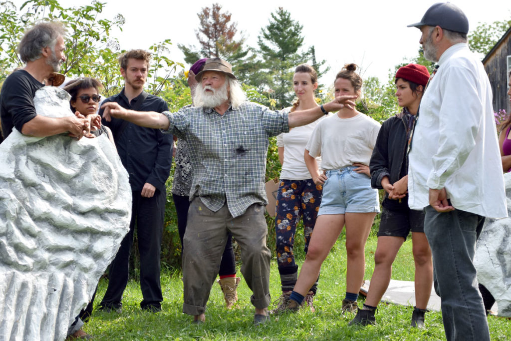 "Peter Schumann directs a rehearsal of Bread and Puppet Theater's ""Grasshopper Rebellion Circus,"" Glover, Vermont, Aug. 17, 2018. (Greg Cook)"