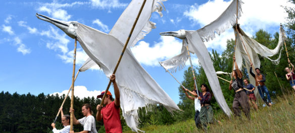 "Bread and Puppet Theater rehearses its ""Grasshopper Rebellion Circus,"" Glover, Vermont, Aug. 19, 2018. (Greg Cook)"