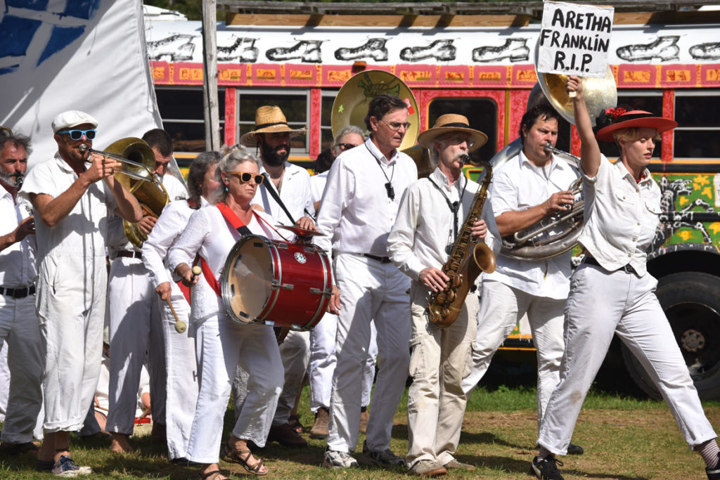 "Bread and Puppet Theater's ""Grasshopper Rebellion Circus,"" Glover, Vermont, Aug. 19, 2018. (Greg Cook)"