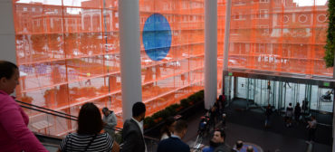 """Stephanie Cardon's installation """"Unless"""" in the entrance atrium at Boston's Prudential Center. (Ryan McMahon/Now+There)"""