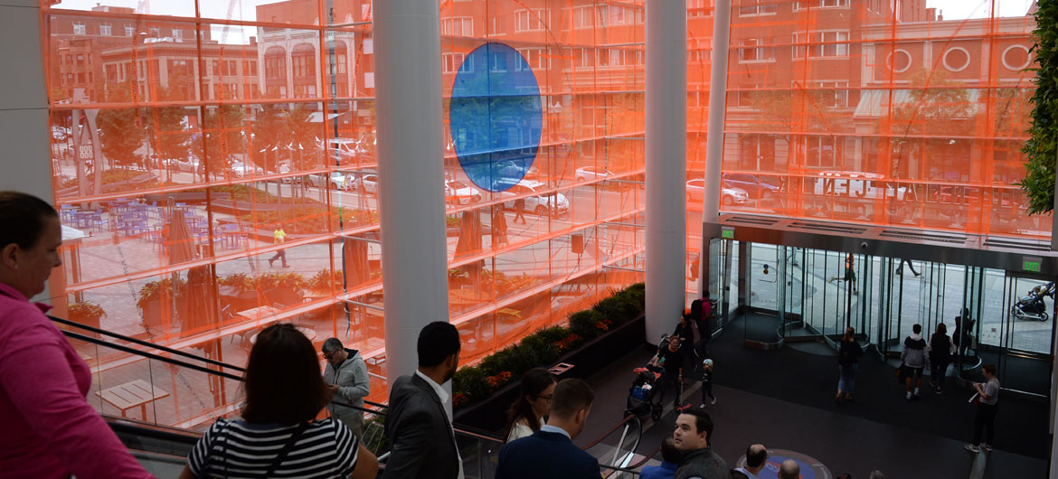 "Stephanie Cardon's installation ""Unless"" in the entrance atrium at Boston's Prudential Center. (Ryan McMahon/Now+There)"